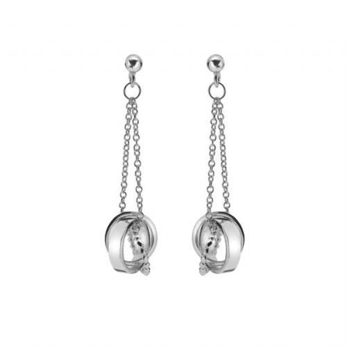 Entwined Silver Circle Earrings